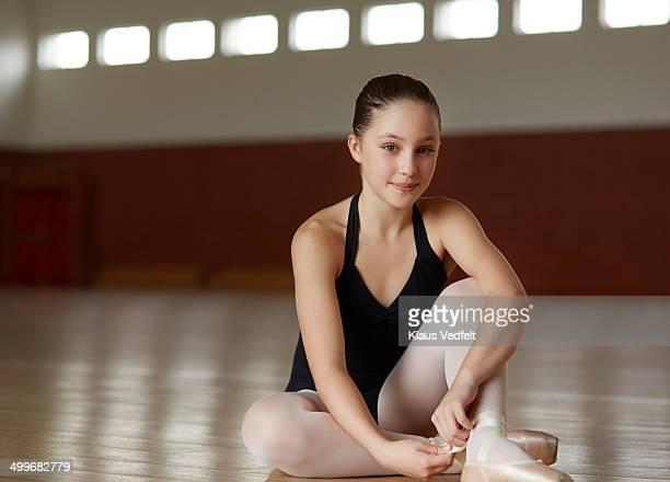 Portrait of ballet girl at practice