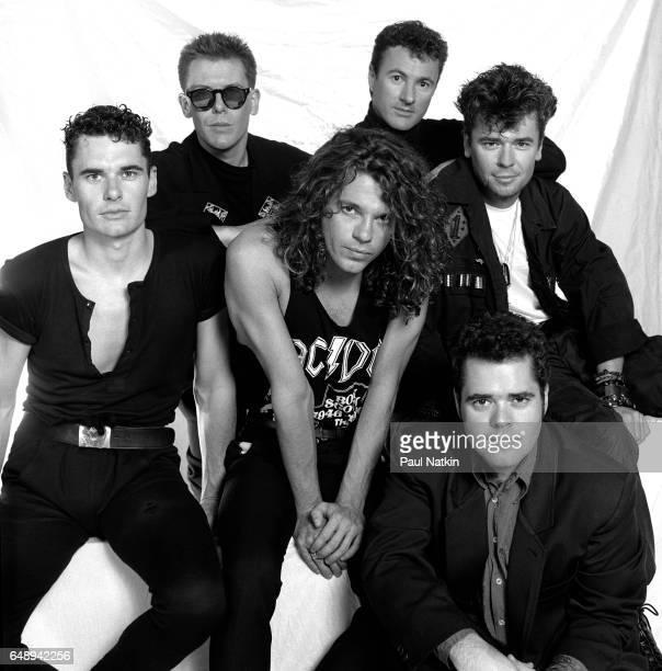 Portrait of band INXS at the Miami Arena in Miami, Florida, March 1, 1988.