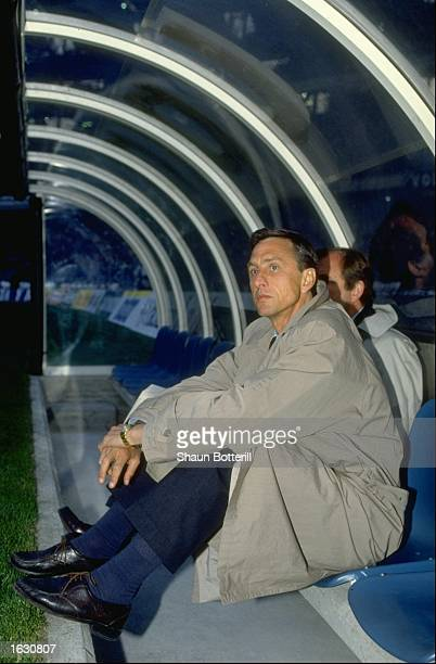 Portrait of Barcelona Manager Johan Cruyff sitting in the dug-out during a match. \ Mandatory Credit: Shaun Botterill/Allsport