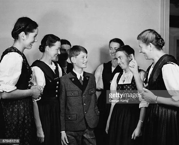 Portrait of Baroness Maria Von Trapp talking to her children including Johannes who is the youngest family member London circa 1950