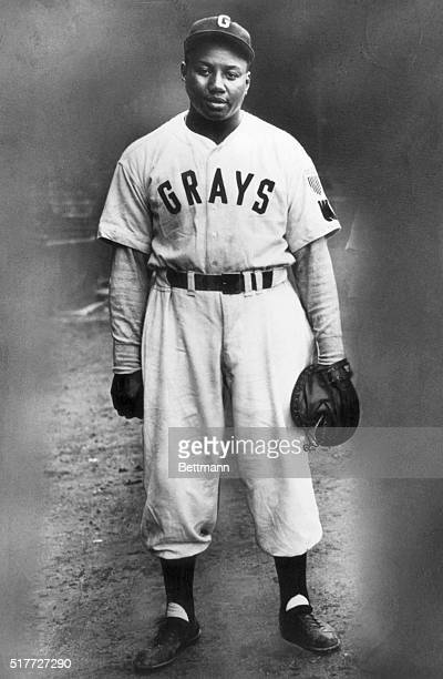 """Portrait of baseball great Josh Gibson in a Homestead Grays baseball uniform. Known as the """"Black Babe Ruth"""" for his home run prowess, Gibson played..."""