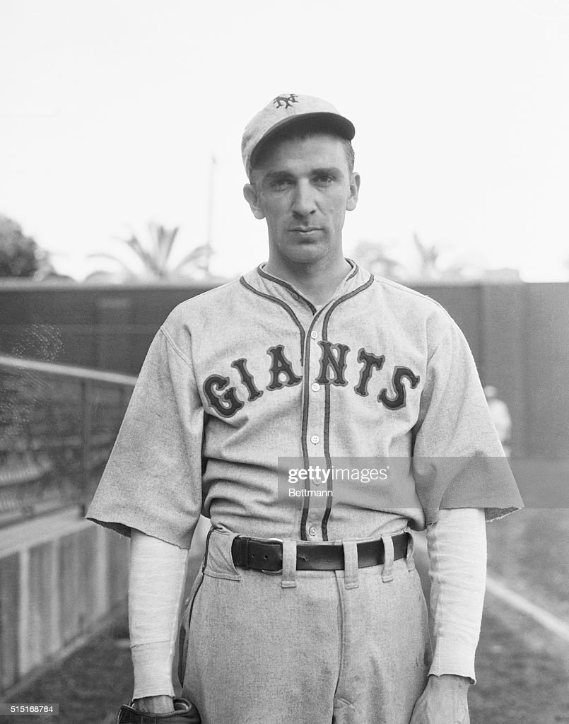 Portrait of baseball player Carl Hubbell of the Giants in uniform.