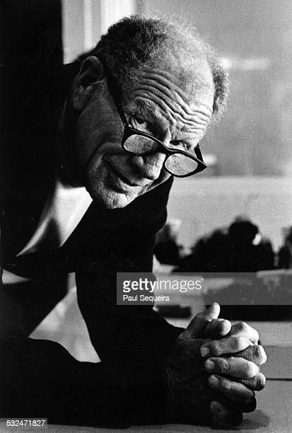 Portrait of baseball team owner and manager Bill Veeck of the Chicago White Sox as he poses in the press box at the old Comiskey Park Chicago...