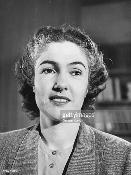 Portrait of BBC announcer Mary Malcolm circa 1950