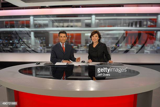 Portrait of BBC News presenters and broadcasters Matthew Amroliwala and Jane Hill