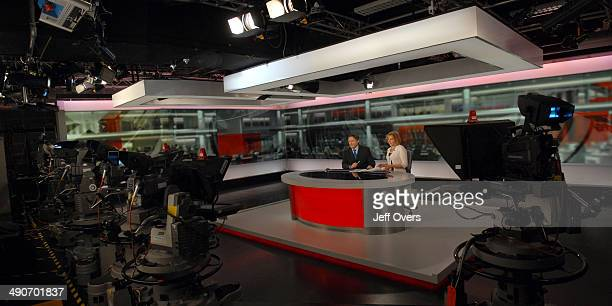 Portrait of BBC News presenters and broadcasters Simon McCoy and Carrie Gracie