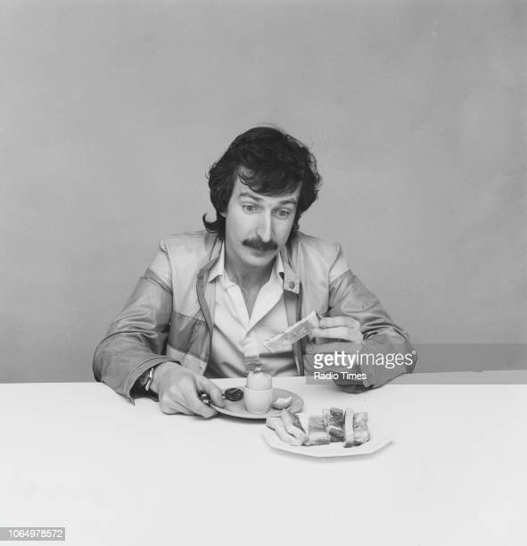 Portrait of BBC Radio 1 disc jockey Steve Wright eating breakfast photographed for Radio Times in connection with his self titled BBC Radio show June...