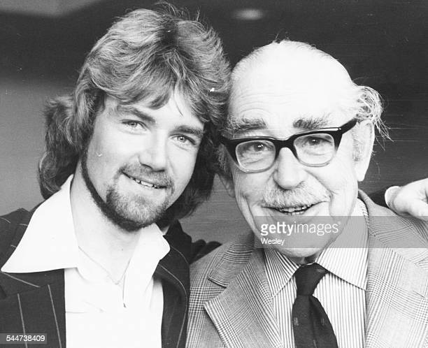 Portrait of BBC Radio 1 DJ Noel Edmonds and radio commentator John Snagge at the 'World of Difference' press screening in London January 3rd 1977