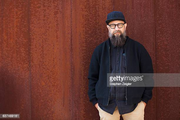 portrait of bearded man - hipster culture stock pictures, royalty-free photos & images