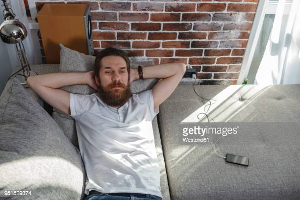 Portrait of bearded man relaxing on the couch at home
