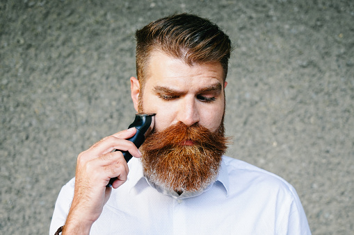 Portrait Of Bearded Man Trimming His Beard 514646438