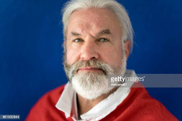 portrait of bearded mature man wearing santa costume - santa face stockfoto's en -beelden
