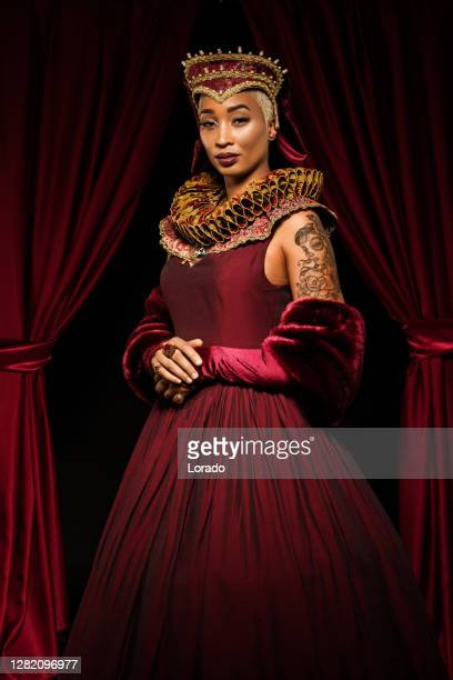 portrait of beautiful african queen woman in european dress - royalty stock pictures, royalty-free photos & images