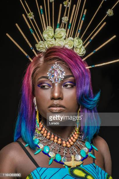 portrait of beautiful african woman - fashion collection stock pictures, royalty-free photos & images