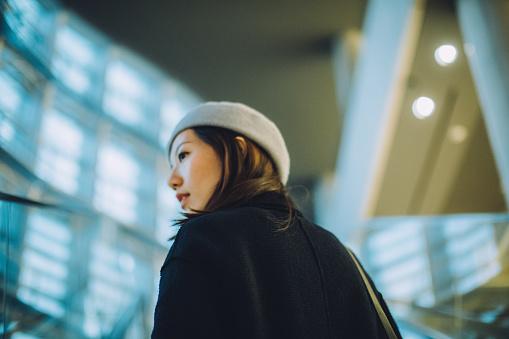 Portrait of beautiful Asian woman looking forward in deep thought - gettyimageskorea