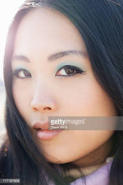 portrait of beautiful asian woman - アイメイク ストックフォトと画像
