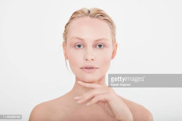 portrait of beautiful blonde female - strapless stock pictures, royalty-free photos & images