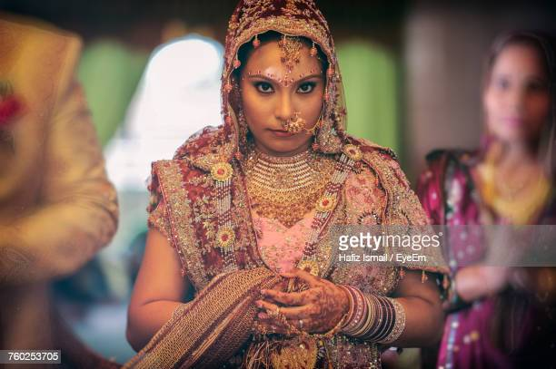 Portrait Of Beautiful Bride During Wedding