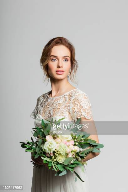 portrait of beautiful bride - embellished dress stock pictures, royalty-free photos & images