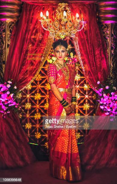 portrait of beautiful bride wearing sari during wedding - tradition stock pictures, royalty-free photos & images