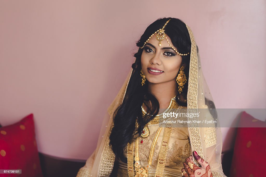 Portrait Of Beautiful Bride With Traditional Dress : Stock Photo
