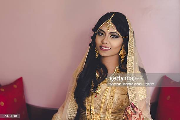 portrait of beautiful bride with traditional dress - bangladeshi bride stock photos and pictures
