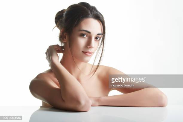 portrait of beautiful brunette woman with clean face 1 - beauty stock pictures, royalty-free photos & images