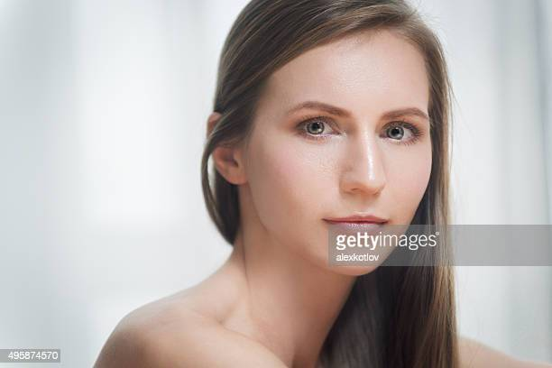 Portrait of beautiful brunette young woman