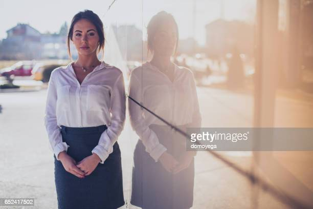 Portrait of beautiful businesswoman on a lovely spring day