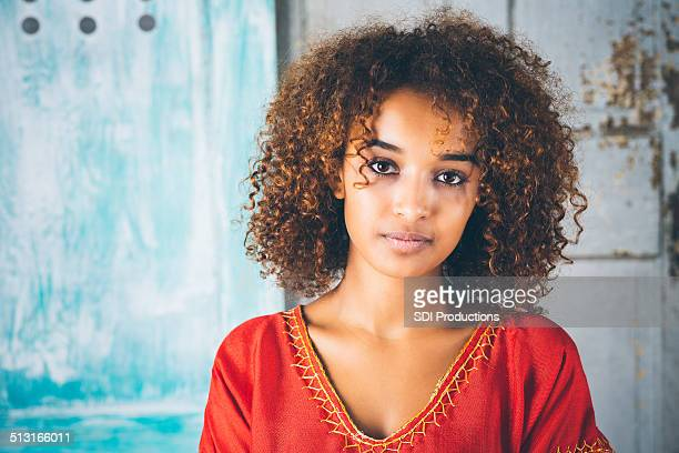 portrait of beautiful ethiopian girl in traditional clothing - beautiful black teen girl stock photos and pictures