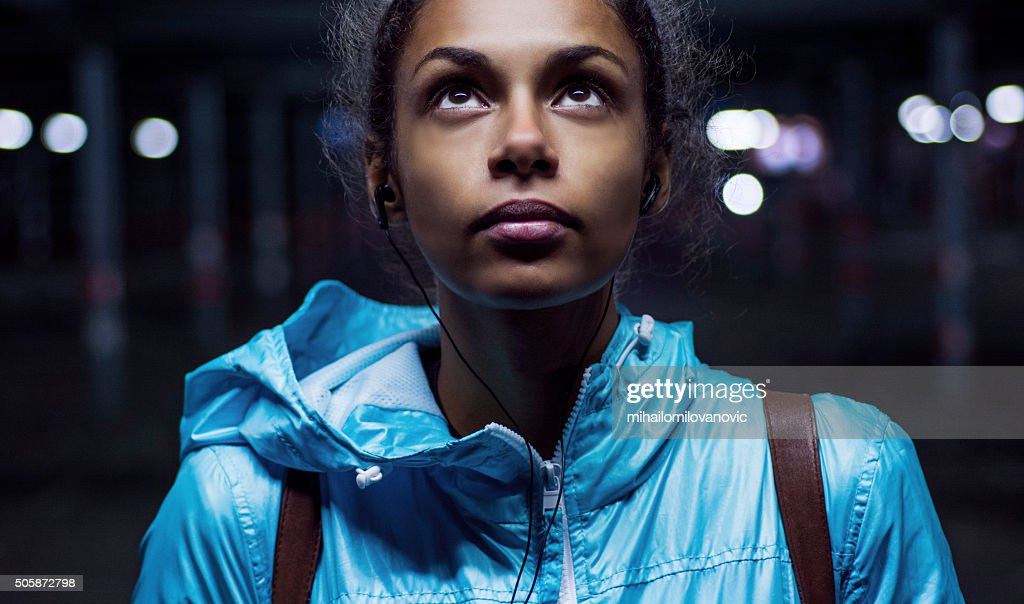 Portrait of beautiful girl at night : Stock Photo