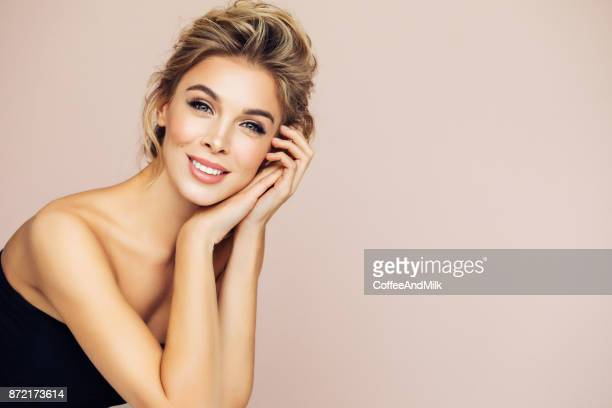 portrait of beautiful happy blonde woman - beautiful women stock pictures, royalty-free photos & images