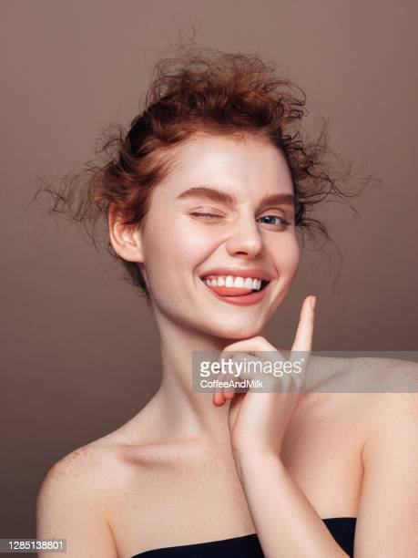 portrait of beautiful happy girl with red hair and shaving foam on her face - natural condition stock pictures, royalty-free photos & images