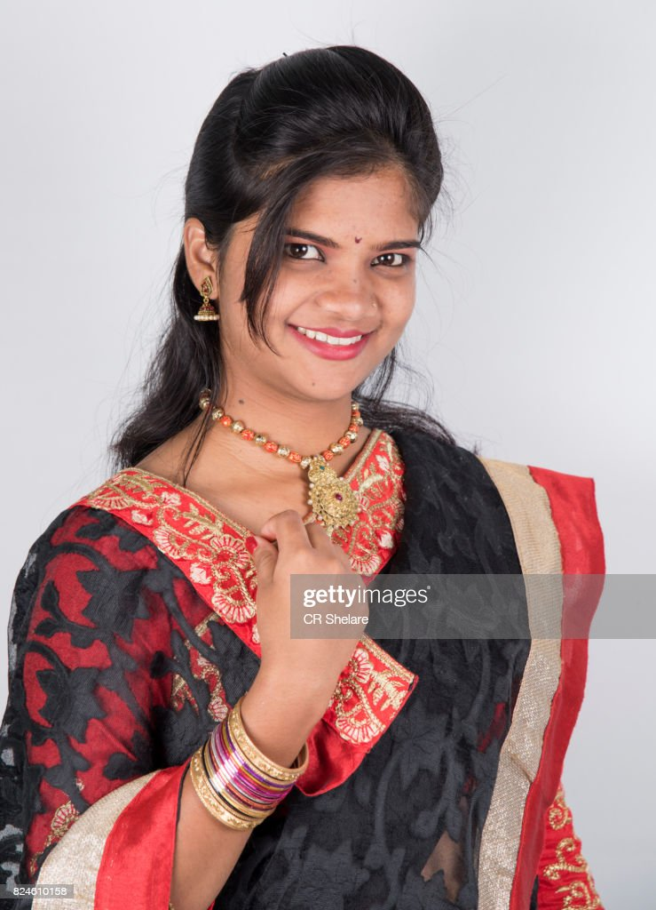 Portrait Of Beautiful Indian Girl Happy Young Beautiful Traditional Indian Woman In Saree