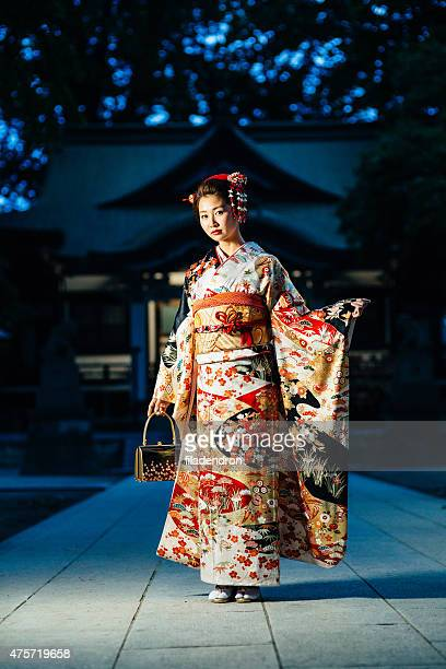 portrait of beautiful japanese woman - obi sash stock pictures, royalty-free photos & images