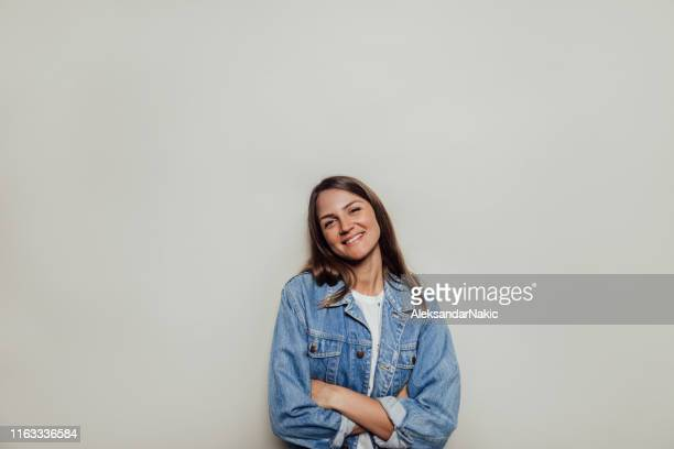 portrait of beautiful, smiling woman - photo shoot stock pictures, royalty-free photos & images