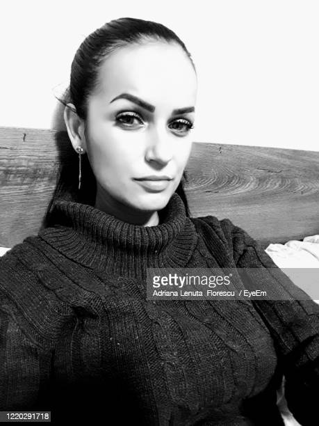 portrait of beautiful woman at home - black and white instant print stock pictures, royalty-free photos & images