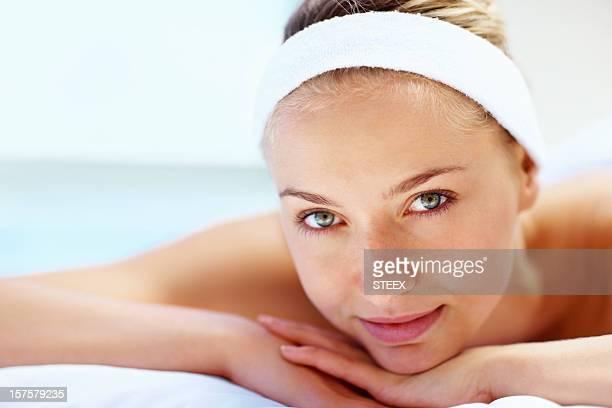 Portrait of beautiful woman at spa treatment