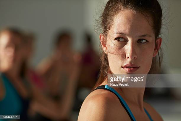 Portrait of beautiful woman at yoga class