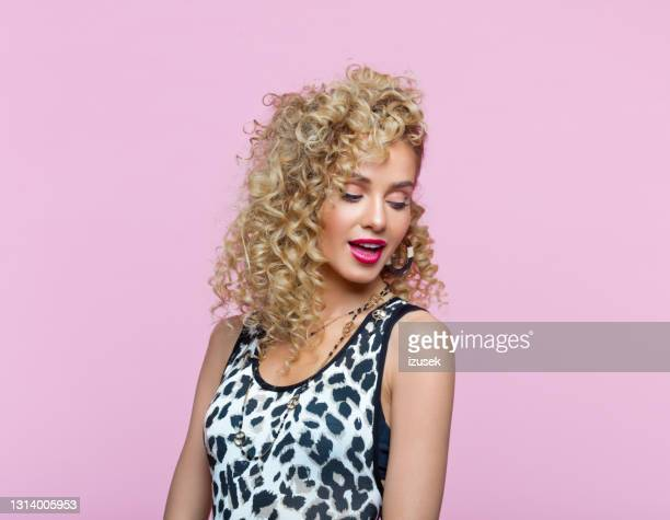 portrait of beautiful woman in 80's style look - 20th century stock pictures, royalty-free photos & images