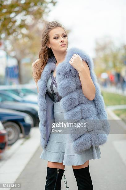 Portrait of beautiful woman in grey dress and fur