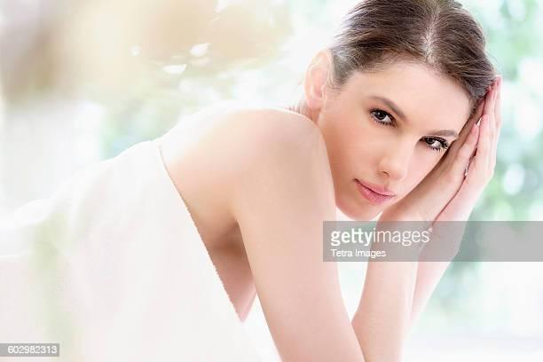 Portrait of beautiful woman in spa