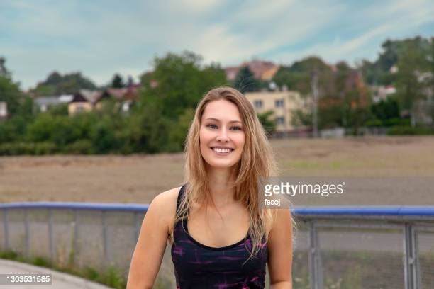 portrait of beautiful woman over highway - czech republic stock pictures, royalty-free photos & images