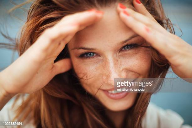 portrait of beautiful woman - redhead stock pictures, royalty-free photos & images