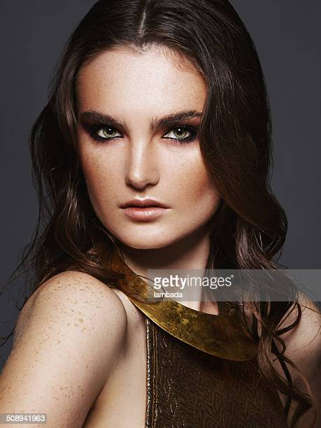 portrait of beautiful woman - light brown eyes stock photos and pictures