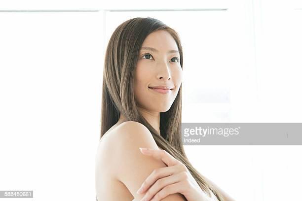 portrait of beautiful woman - セミヌード ストックフォトと画像