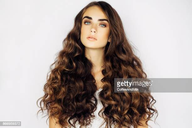portrait of beautiful woman - long hair stock photos and pictures