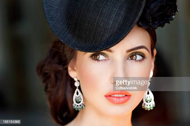 portrait of beautiful woman wearing hat - hat stock pictures, royalty-free photos & images