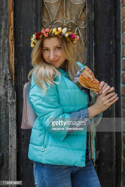 Portrait of beautiful woman with bouquet