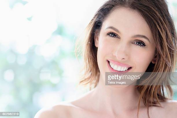 Portrait of beautiful woman with brown hair